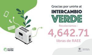 RECOLECTAMOS UN TOTAL DE 4,642.71 LIBRAS DE RAEE EN INTERCAMBIO VERDE